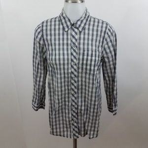 Lucky Brand button front S blue white plaid 3/4 sl